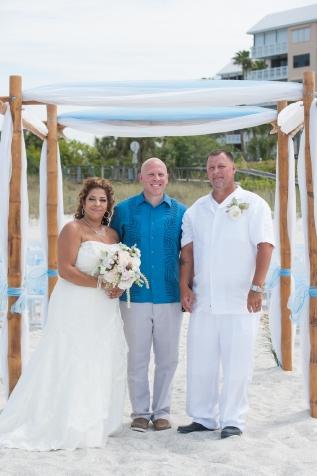 Congratulations Mr. and Mrs. Hamm. Wedding performed at Upham Beach with Gulf Beach Weddings