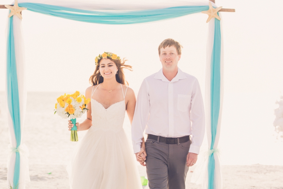 Congratulations Mr. and Mrs. Reents. Wedding performed at Ft. Desoto Beach with Gulf Beach Weddings