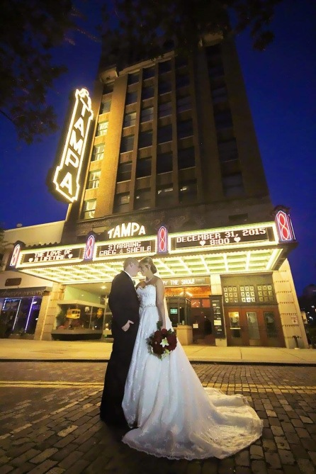 Campbell Wedding outside of the Tampa Theatre