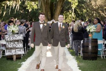 Congratulations Chris and Jeremy. Wedding Performed at Lange Farm, dade City