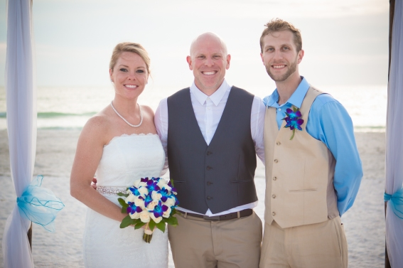 Congratulations Mr. Darrin Baker and Mrs. Allison Davis. Wedding performed at Pass-A-Grill Beach with Gulf Beach Weddings