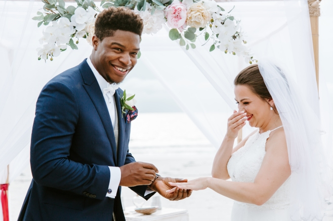 Sunny beach wedding at Pass-A-Grille with Tide the Knot wedding company.