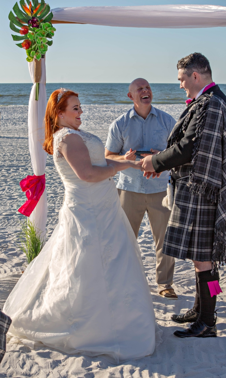 Friends from Scotland at Clearwater beach wedding with Gulf Beach Weddings and photos by Koz for Celebration.